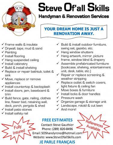 Steve Of'all Skills Handyman & Renovation Services services